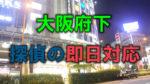 大阪府のヨドバシカメラ梅田の夜の写真に「大阪府下」「探偵の即日対応」と書かれた画像です。