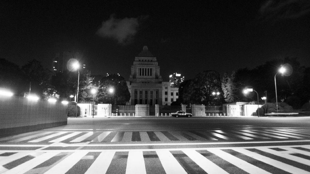 夜の国会議事堂モノクロ画像