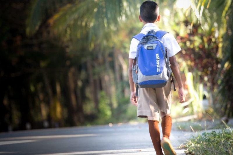 学校が終わり、一人で帰る少年の後姿