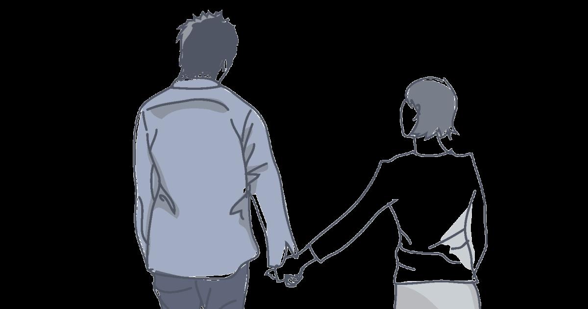 手を繋ぎながら歩く夫婦の後姿