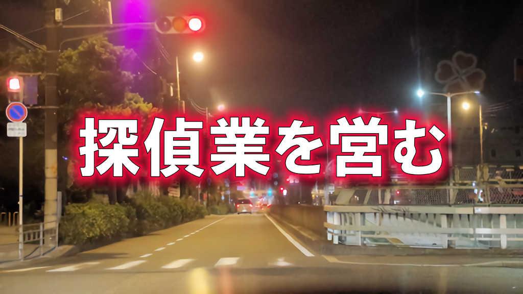大阪府の国道309号線を走行中の夜間の写真に「探偵業を営む」と書かれた画像です。