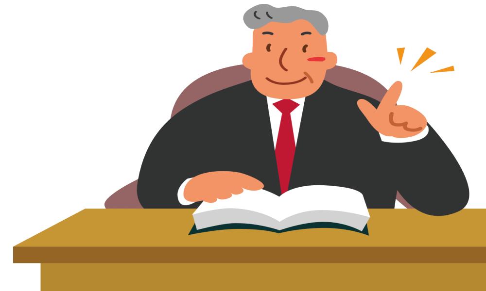 大阪府の弁護士さんが机の上に座っているイラスト