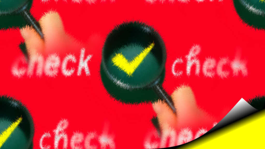 背景が赤に虫メガネが複数あり、その中に黄色のチェックマークがある画像で英語で「check」と筆記体で書かれた画像です。