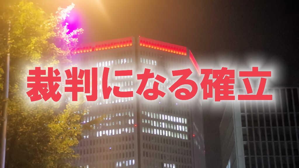 大阪市内のビルを見上げた写真に「裁判になる確率」と書かれた画像です。