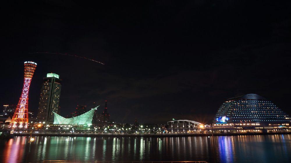 兵庫県神戸市中央区のハーバーランド、ホテルオオクラ、神戸海洋博物館などの夜景