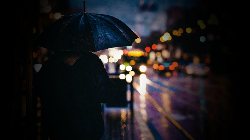 雨の中の浮気調査。対象者が傘を差している後姿。