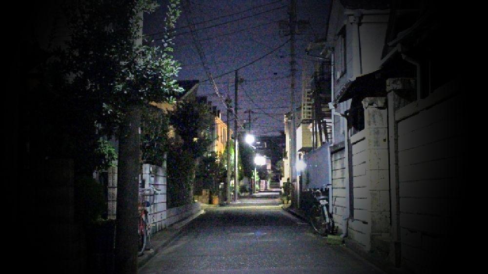 大阪府大東市の夜の住宅街