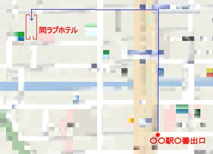 浮気調査報告書にはこのような駅から同ラブホテルまでの経路マップなどが添付されています。